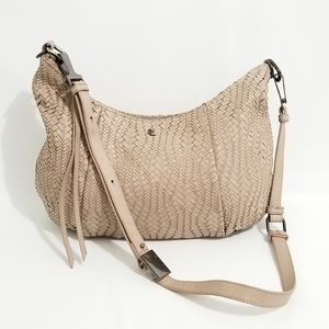Elliott Lucca Taupe Woven Leather Cross Body Bag